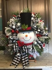 Snowman Wreath, Christmas wreath, Christmas decor, Christmas decorations, black and white ribbon