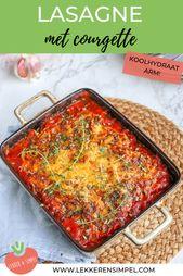 Courgette lasagne met tomatensaus