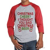 Men's Christmas Shirt – Christmas Beer Shirt – Funny Christmas Present Idea for Him – Humorous Drinking Shirt – Red Raglan – Christmas Gift
