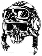 Graphic Detailed Old Skull in Retro Pilot Helmet – Tattoos Vectors