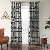 Exclusive Fabrics Royal Gate Silver & Black Flocked Faux Silk Curtain (50 x 120)