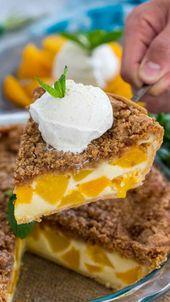 Peach Pie ist ein Muss, um im Sommer süße Pfirsiche zu probieren, die in eine cremige …   – Dessert