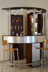Interior, Stunning Corner Small Bar Design Ideas With Hanging Wine Glass  Rack Featuring Bar Stools For Modern Home: Excellent Mini Bar Design Ideas  For Home