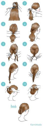 Tolle und einfache Frisur für den Alltag. #simple #hairstyles #frisuren #illust… – Flechtfrisuren – Ideen & Anleitungen!