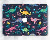 Dinosaurs Macbook case Flowers Cute Macbook Pro 13 inch 2018 Air 13 Pro 15 Floral Nature Macbook 12