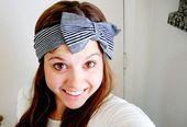 Striped head wrap - Black and gray stripes - wide stretch headband with bow,  #Black #Bow #Gr...