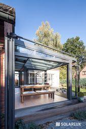 Erweiterung zum Garten. Dank der # Glasfaltwand ist der Übergang   – pit backyards