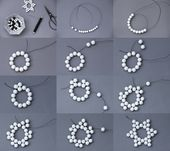 Wooden ball star tinker & snowflake gift tags made of beaded / hama beads