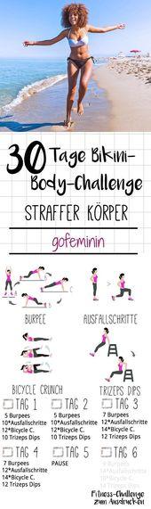 Ziehen Sie sich an: die 30-Tage-Bikini-Body-Challenge!   – Fitness Übungen // Ernährungstipps // Zuhause trainieren