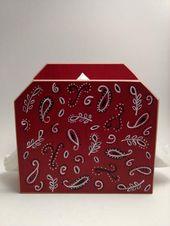 Red Bandana Napkin Holder Letter Holder Painted Napkin Holder Country Western Napkin Holder Wood