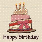 Vintage Happy Birthday Cake Card – Greeting Card Business