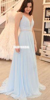 Beaded A-Line Prom Dresses, Chiffon Spaghetti Straps Prom Dresses, D451