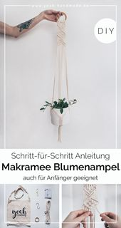 Make DIY macrame flower basket yourself