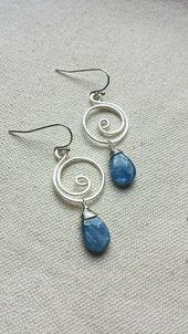 Blue Kyanite Silver Swirl Wire Wrapped Earrings by BlackwoodArts Etsy Jewe …