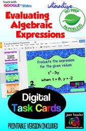 Evaluating Algebraic Expressions With Google Slides Distance Learning Evaluating Algebraic Expressions Algebraic Expressions Evaluating Expressions