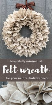 """Oatmeal Cookie"" colored wreath in a soft, neutral shade to adorn your front doo…"
