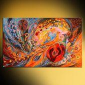 """Jüdische Kunst Hand verschönert Leinwanddruck Malerei hebräische Wörter """"Rose of East"""" mit traditionellen Judaica-Attributen, Orangenbäume Blumen Schlüssel   – Products"""
