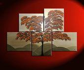 Gebrannter Orangenbaum Malerei einzigartiges Layout Original Gold riesige moderne asiatische abstrakte Wand Kunst Home Decor Custom 56 x 40   – Products