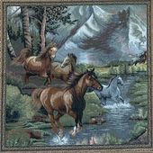Wild Horses / Woven Art / 27×26 Inches / Mustangs / Wall Décor / Wall Hanging / Interior Design