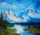 Bob Ross Style painting with lots and lots of mountains. #Technology wallpapers.ogysof…   Oil Paintings  736 X 637 Technology Wallpaper.    #technol…