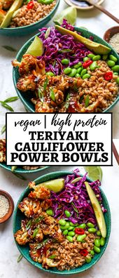 Teriyaki Cauliflower Power Bowls are vegan and easily made gluten-free for a healthy, nutrient charged meal full of plant protein and fiber.