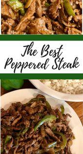 Pepper Steak ist ein leckeres Gericht im asiatischen Stil, das auf einem Bett aus weißem Reis serviert wird!