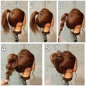 Nette einfache und schnelle Frisuren #langehaare #dutt #pferdeschwanz #anleitung… – Hairsty…