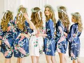 Bridesmaid Robes, Bridal Robes Set, Silk Satin Floral Robes, Silk Bridesmaid Robe, Wedding Gift, Bride Robe, Bridal Set of 4 5 6 7 8 9 Robes