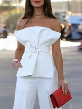 Shop for the White Cotton Blend Bandeau Buckle Strap Waist Chic Women Blouse onl... 1