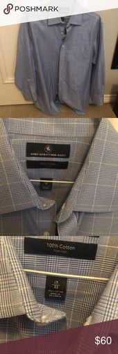 Hart Schaffner Marx Collar Plaid Dress Shirt Non-Iron. 100% cotton. Size: 17/33. From Hart Schaffner Marx, this dress shirt features: Glen plaid patte…