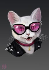 Rockerkatze mit Brille. Folge meinem Instagram: arakvielart T-Shirt Druck #cat #ro …