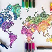 Colorful world map – mandalas