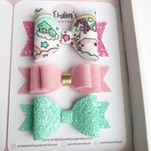 Pink and Mint Unicorn Gift Set, Kawaii Unicorn Bow, Pink Wool Felt Bow, Mint Glitter Bow, Baby Headband, Girls Hair Bow, Birthday Gift Set