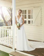 enkel bröllopsklänning, spets topp, V-ringad #rosaclara