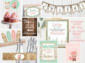 Wild One Birthday Invitations – Pink and Mint – First 1st Birthday Party – Instant Digital Download