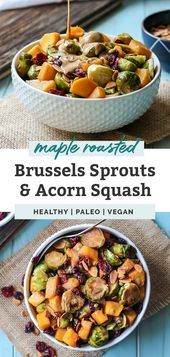 Maple roasted Brussels sprouts & pumpkin with almond butter balsamico   – Danksagung Rezepte