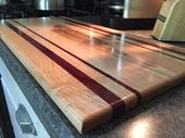 Extra Large Handmade Cutting Board 10 3/4 x 24in – Maple and Purple Heart