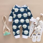 Baby Cute Sheep Allover Long-sleeve Jumpsuit
