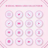 Icones Para Redes Sociais Com Cores Rosa Iphone Icon Social Media Icons Facebook Icons