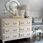 bedrooms – gray blue walls mercury glass double gourd lamp ivory dresser bronze …   – Bedroom