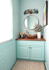Turquoise and Copper Powder Room Makeover REVEAL – ORC Week Six
