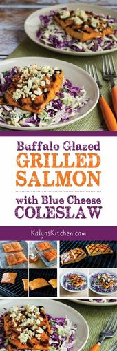 Buffalo-Glazed Grilled Salmon with Blue Cheese Col…