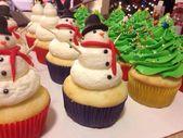 Navidad cupcakes árboles muñecos de nieve   – desserts