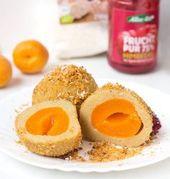 Vegan apricot dumplings made from potato dough  – vegan