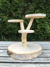 Large Birch Log Wood Rustic Cake Cupcake Stand Wedding party shower wooden 4 tiered – Hochzeit torte