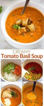 Diese cremige Tomaten-Basilikum-Suppe ist köstlich in Restaurantqualität und wird mit …   – We Love Food
