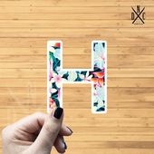 "Letter ""H"" Tropical Vinyl Sticker, Best Friend Gift, Laptop Decals, Name Stickers, Monogram, Macbook"