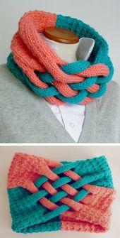Bufanda trenzada y patrones de tejido de capucha: tejido de punto en bucle