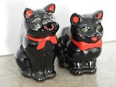 Details about VINTAGE 1950'S ELBRO BLACK CAT CREAMER & SUGAR RED CLAY EX COND HALLOWEEN DECOR