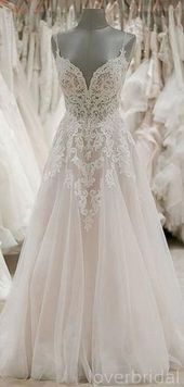 Spaghetti Straps Lace Backless A-line Cheap Wedding Dresses Online, Cheap Bridal Dresses, WD516